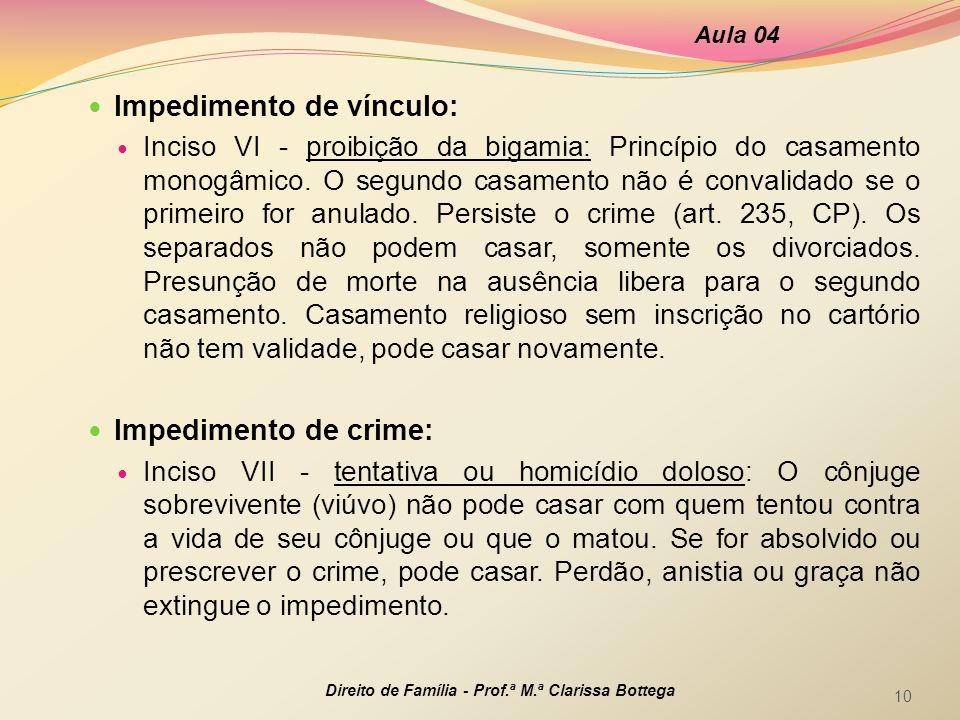 Impedimento de vínculo: Inciso VI - proibição da bigamia: Princípio do casamento monogâmico. O segundo casamento não é convalidado se o primeiro for a