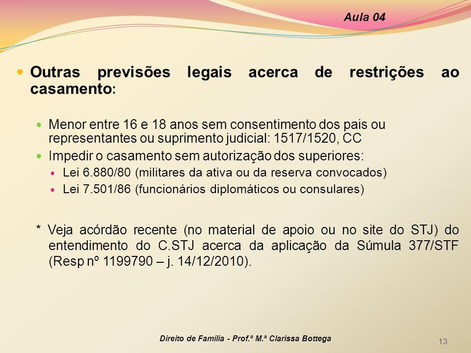 Outras previsões legais acerca de restrições ao casamento : Menor entre 16 e 18 anos sem consentimento dos pais ou representantes ou suprimento judici
