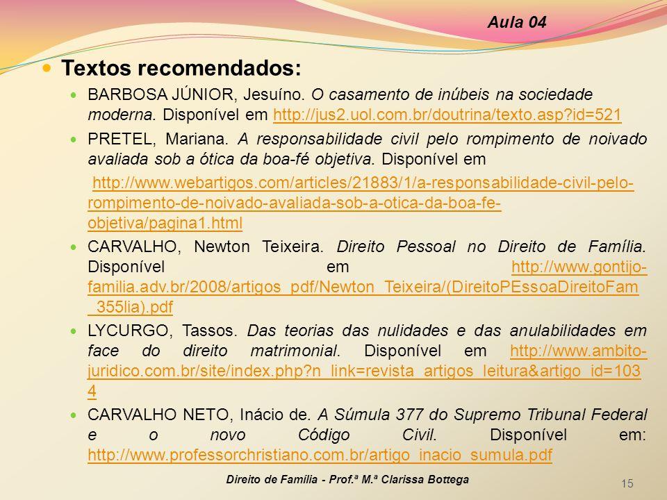 Textos recomendados: BARBOSA JÚNIOR, Jesuíno. O casamento de inúbeis na sociedade moderna. Disponível em http://jus2.uol.com.br/doutrina/texto.asp?id=