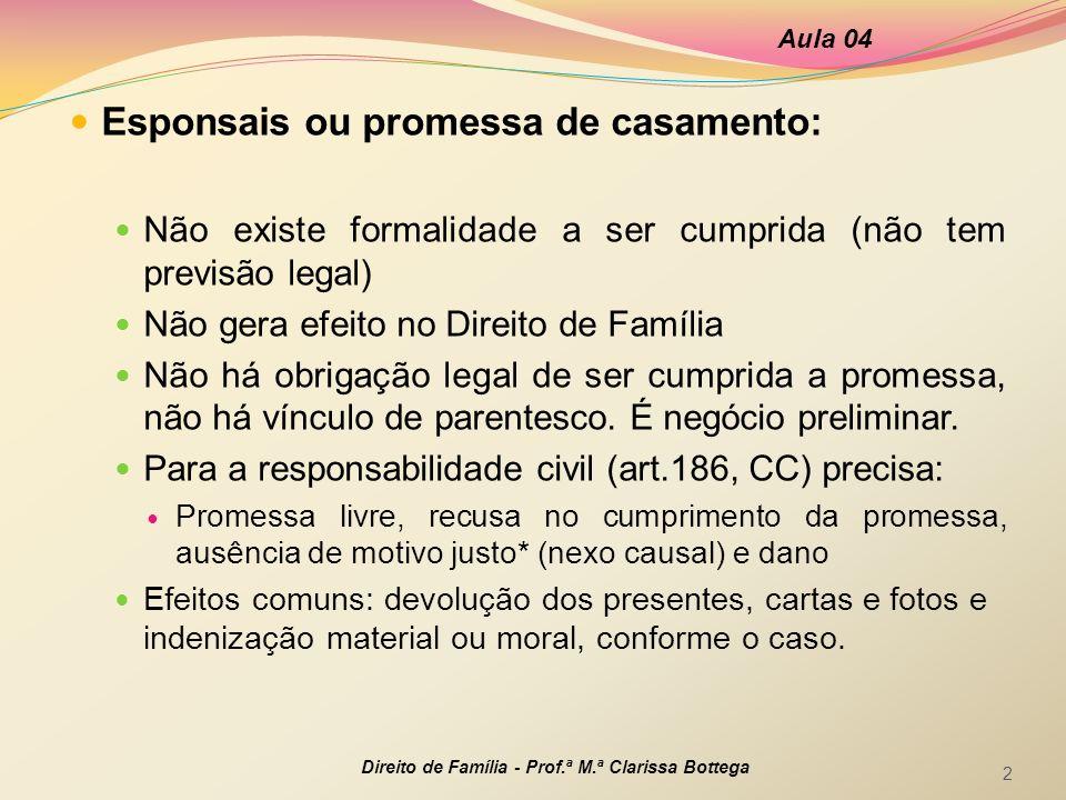 Esponsais ou promessa de casamento: Não existe formalidade a ser cumprida (não tem previsão legal) Não gera efeito no Direito de Família Não há obriga