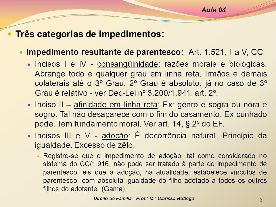 Três categorias de impedimentos : Impedimento resultante de parentesco: Art. 1.521, I a V, CC Incisos I e IV - consangüinidade: razões morais e biológ