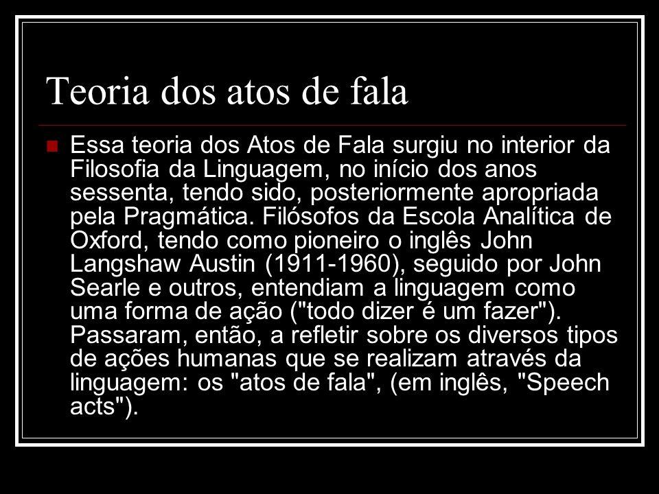 Teoria dos atos de fala Essa teoria dos Atos de Fala surgiu no interior da Filosofia da Linguagem, no início dos anos sessenta, tendo sido, posteriorm