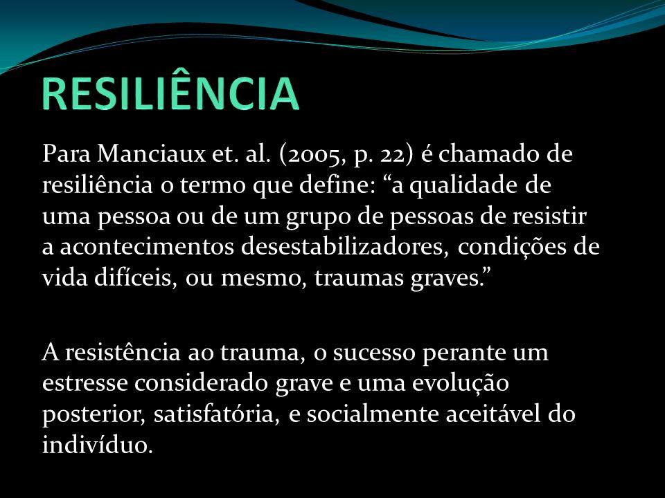 Para Manciaux et. al. (2005, p. 22) é chamado de resiliência o termo que define: a qualidade de uma pessoa ou de um grupo de pessoas de resistir a aco