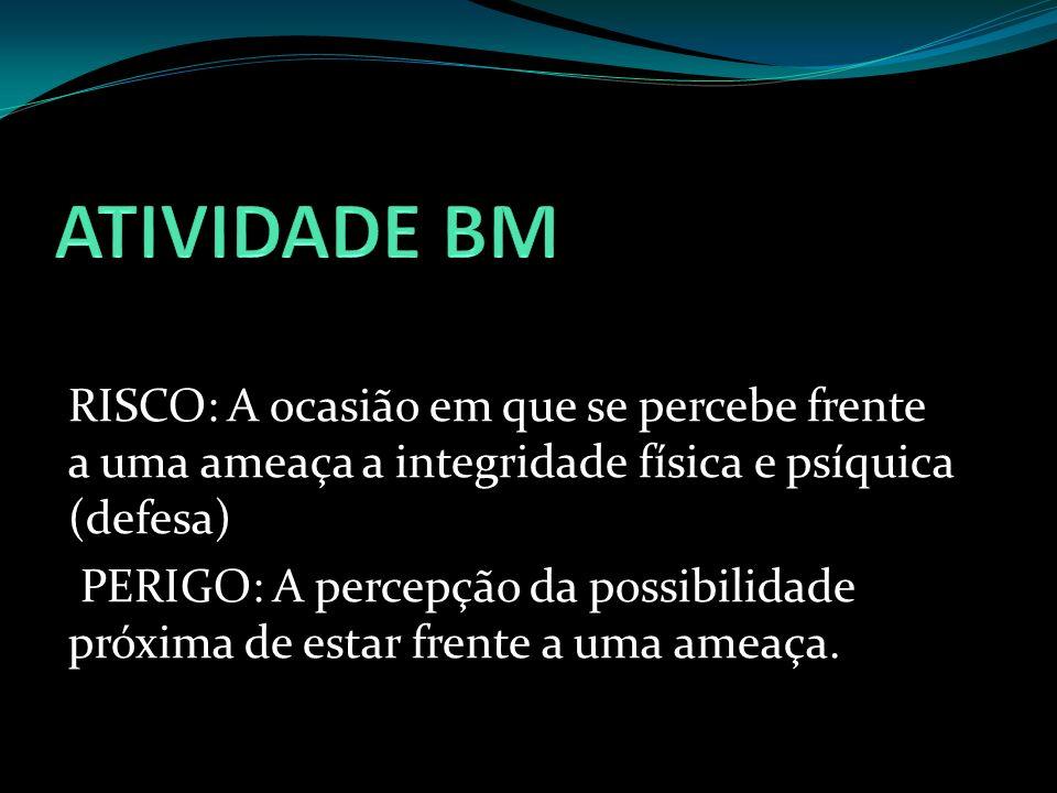 RISCO: A ocasião em que se percebe frente a uma ameaça a integridade física e psíquica (defesa) PERIGO: A percepção da possibilidade próxima de estar