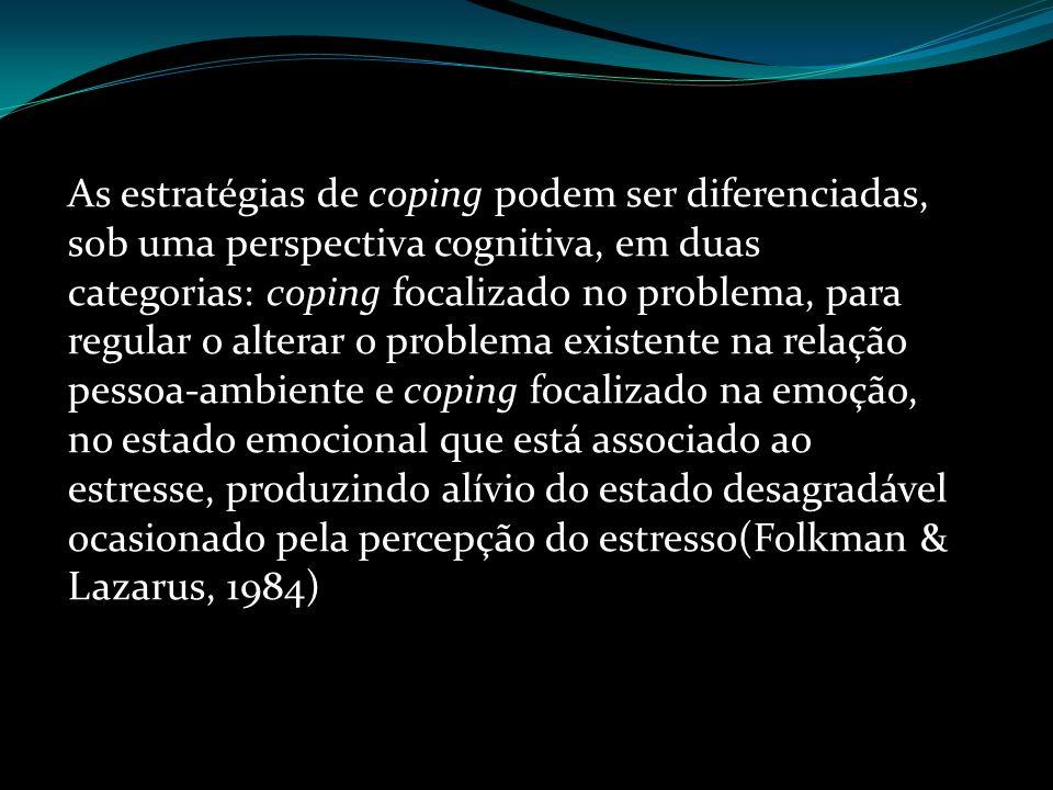 As estratégias de coping podem ser diferenciadas, sob uma perspectiva cognitiva, em duas categorias: coping focalizado no problema, para regular o alt