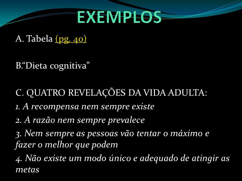 A. Tabela (pg. 40)(pg. 40) B.Dieta cognitiva C. QUATRO REVELAÇÕES DA VIDA ADULTA: 1. A recompensa nem sempre existe 2. A razão nem sempre prevalece 3.