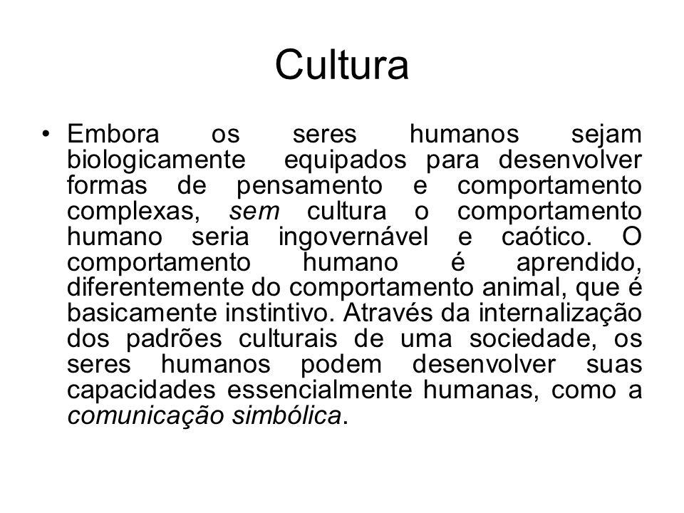 Cultura A cultura opera como mecanismos de controle sobre o comportamento.
