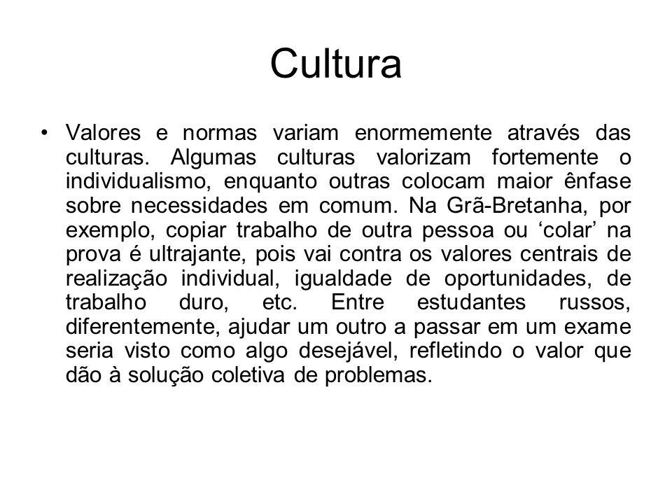 Cultura Valores e normas variam enormemente através das culturas. Algumas culturas valorizam fortemente o individualismo, enquanto outras colocam maio