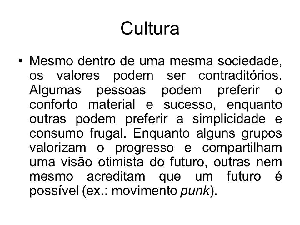 Cultura Mesmo dentro de uma mesma sociedade, os valores podem ser contraditórios. Algumas pessoas podem preferir o conforto material e sucesso, enquan