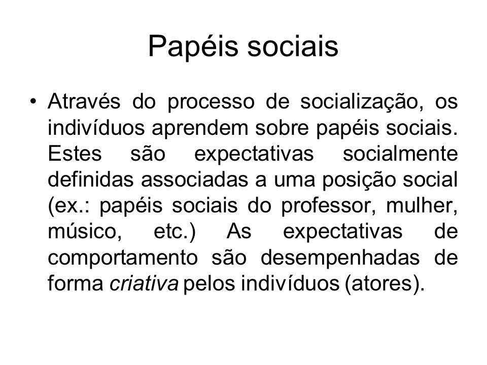 Papéis sociais Através do processo de socialização, os indivíduos aprendem sobre papéis sociais. Estes são expectativas socialmente definidas associad