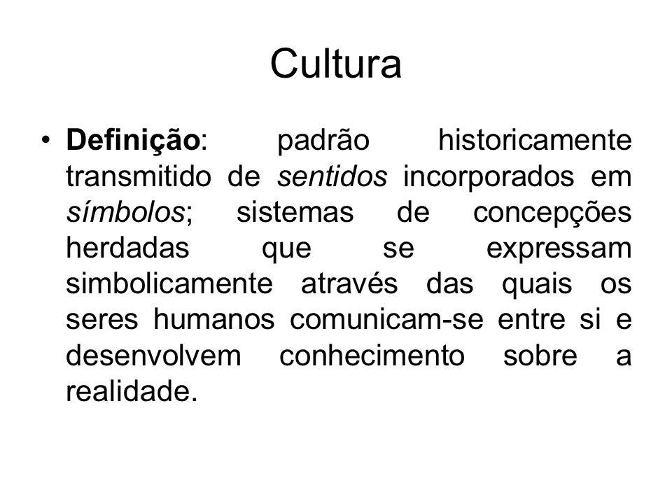 Cultura Símbolo: pode ser um objeto, evento, ação, entre outros, que serve como um veículo de sentido (exemplos: a linguagem, vestuário, marcas corporais, carnaval, datas comemorativas, etc.), quer dizer, os símbolos nos dizem qual é o sentido dos objetos a nosso redor.