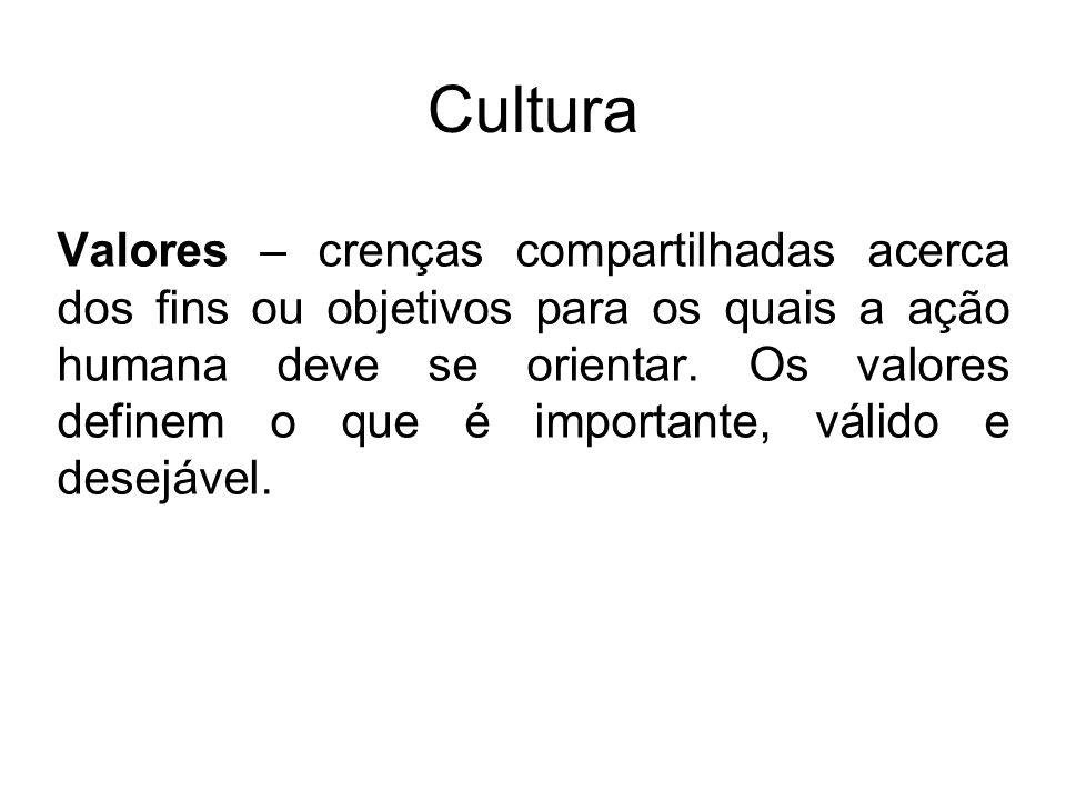 Cultura Valores – crenças compartilhadas acerca dos fins ou objetivos para os quais a ação humana deve se orientar. Os valores definem o que é importa