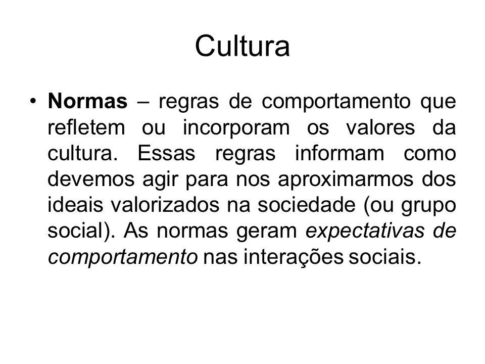 Cultura Normas – regras de comportamento que refletem ou incorporam os valores da cultura. Essas regras informam como devemos agir para nos aproximarm
