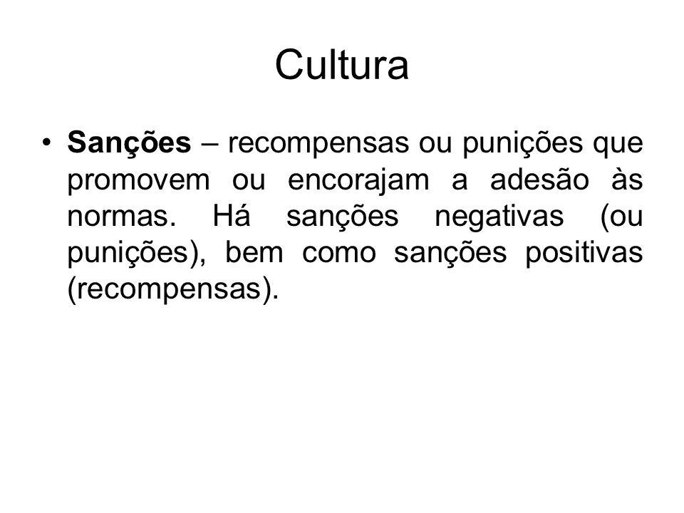 Cultura Sanções – recompensas ou punições que promovem ou encorajam a adesão às normas. Há sanções negativas (ou punições), bem como sanções positivas
