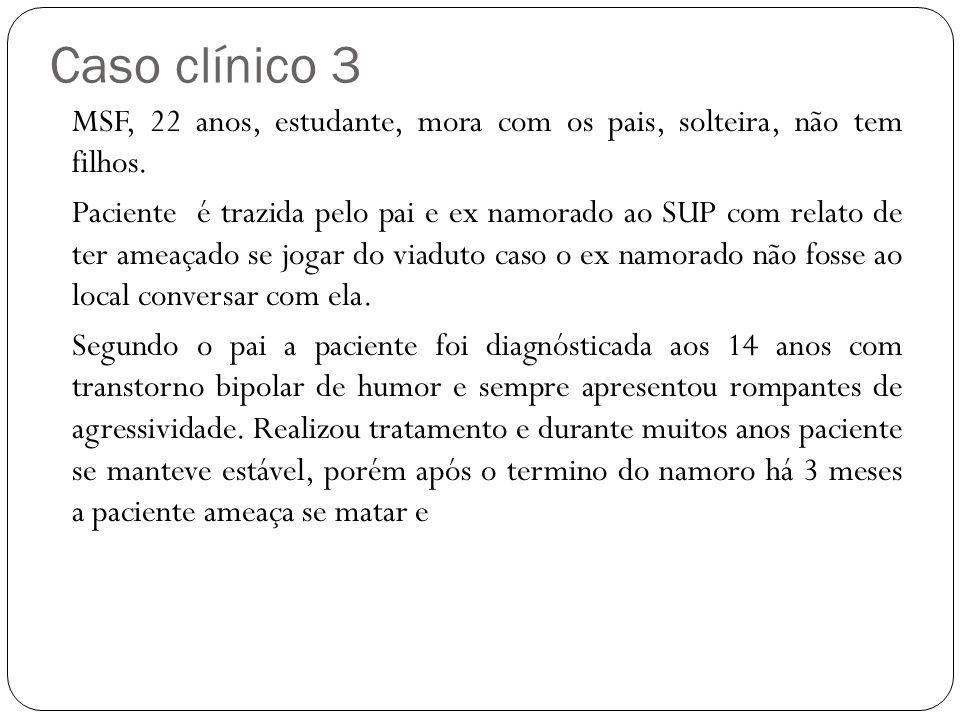 Caso clínico 3 MSF, 22 anos, estudante, mora com os pais, solteira, não tem filhos.