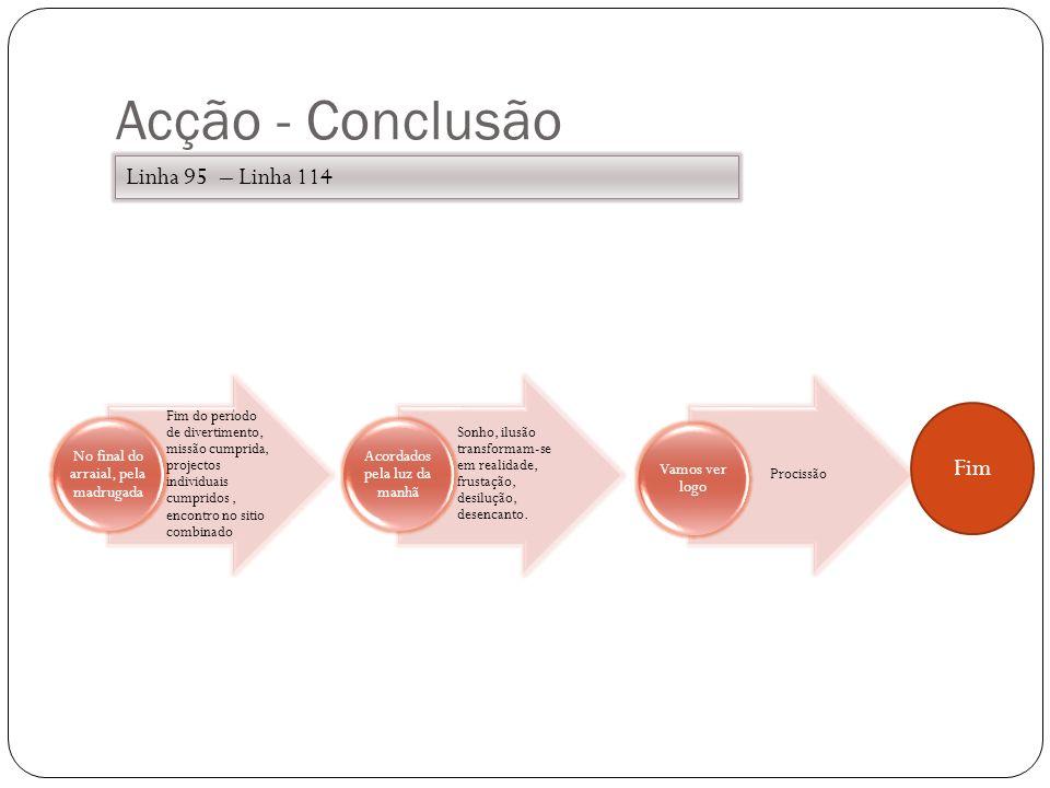 Acção - Conclusão Fim do período de divertimento, missão cumprida, projectos individuais cumpridos, encontro no sitio combinado No final do arraial, p