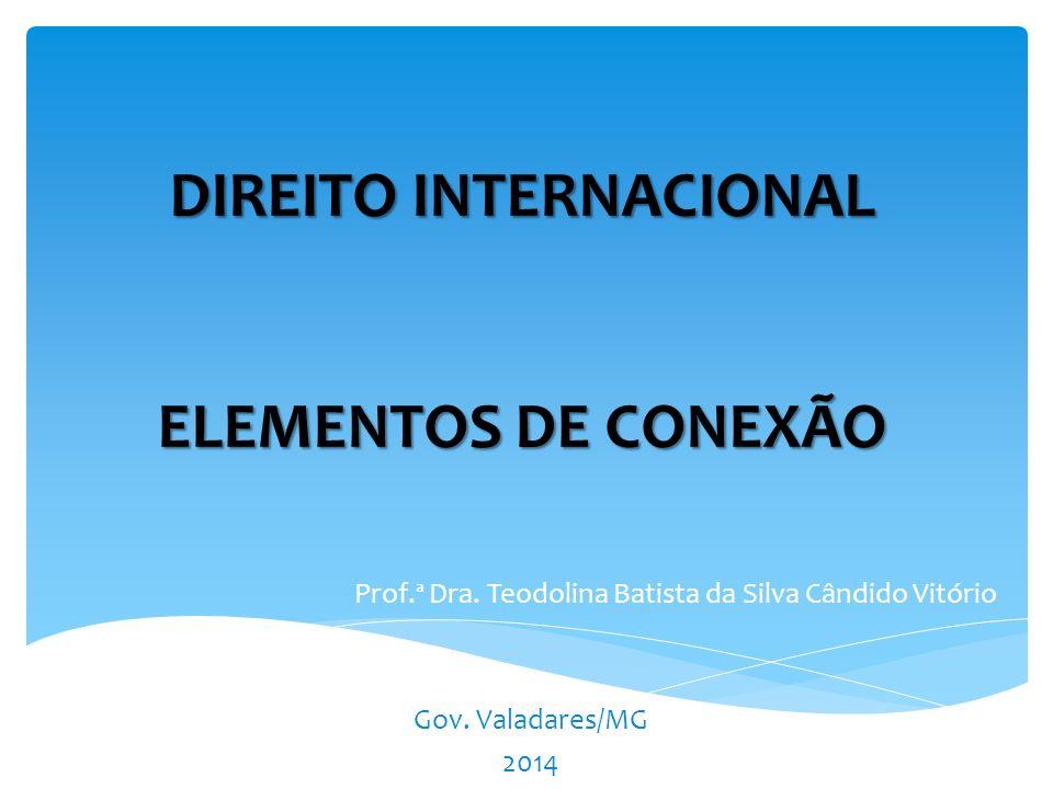 DIREITO INTERNACIONAL ELEMENTOS DE CONEXÃO Prof.ª Dra.