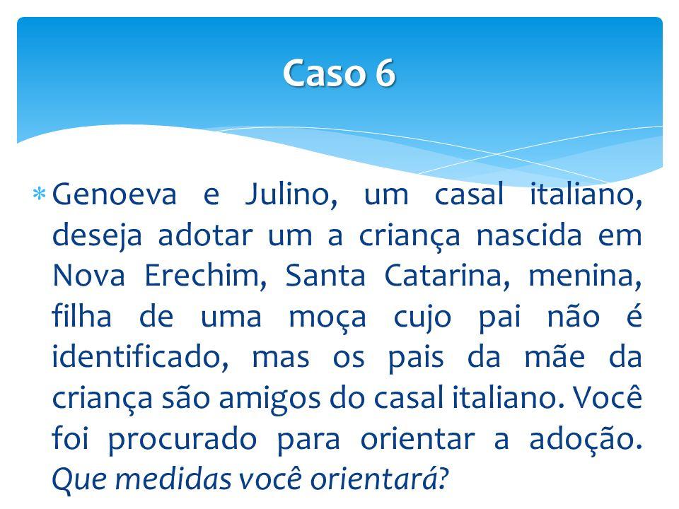 Genoeva e Julino, um casal italiano, deseja adotar um a criança nascida em Nova Erechim, Santa Catarina, menina, filha de uma moça cujo pai não é identificado, mas os pais da mãe da criança são amigos do casal italiano.