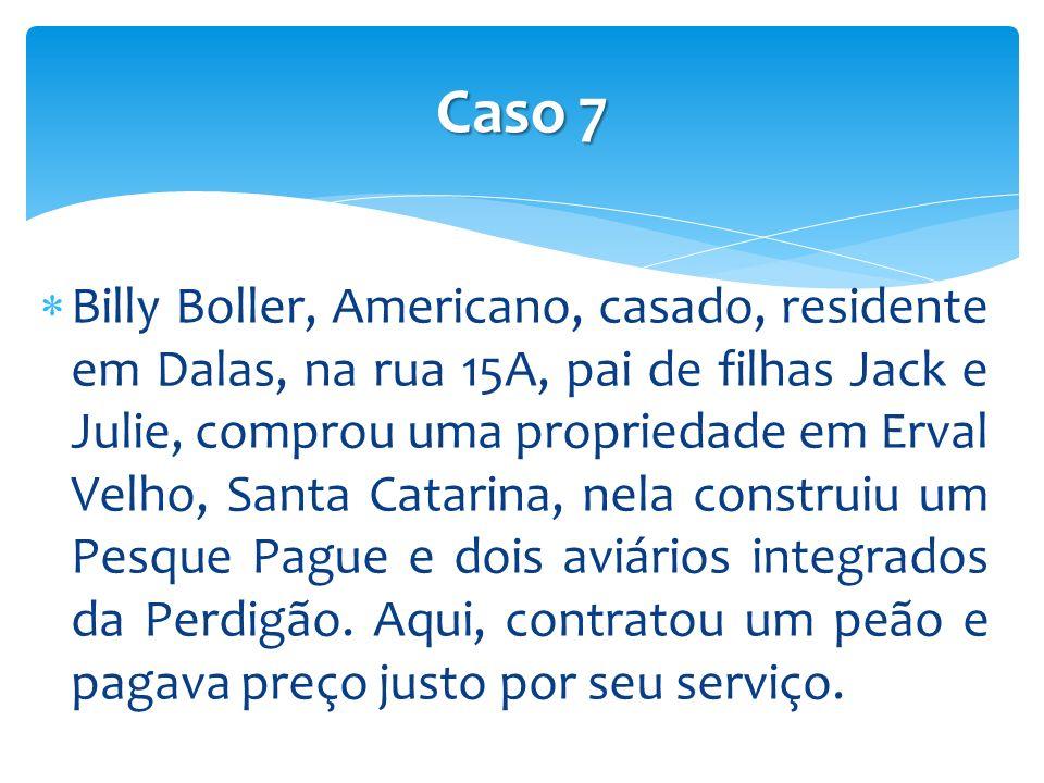 Billy Boller, Americano, casado, residente em Dalas, na rua 15A, pai de filhas Jack e Julie, comprou uma propriedade em Erval Velho, Santa Catarina, nela construiu um Pesque Pague e dois aviários integrados da Perdigão.
