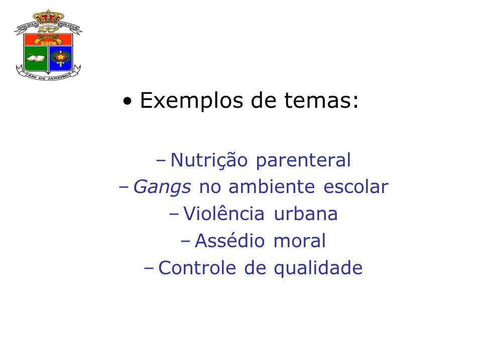 Exemplos de temas: –Nutrição parenteral –Gangs no ambiente escolar –Violência urbana –Assédio moral –Controle de qualidade