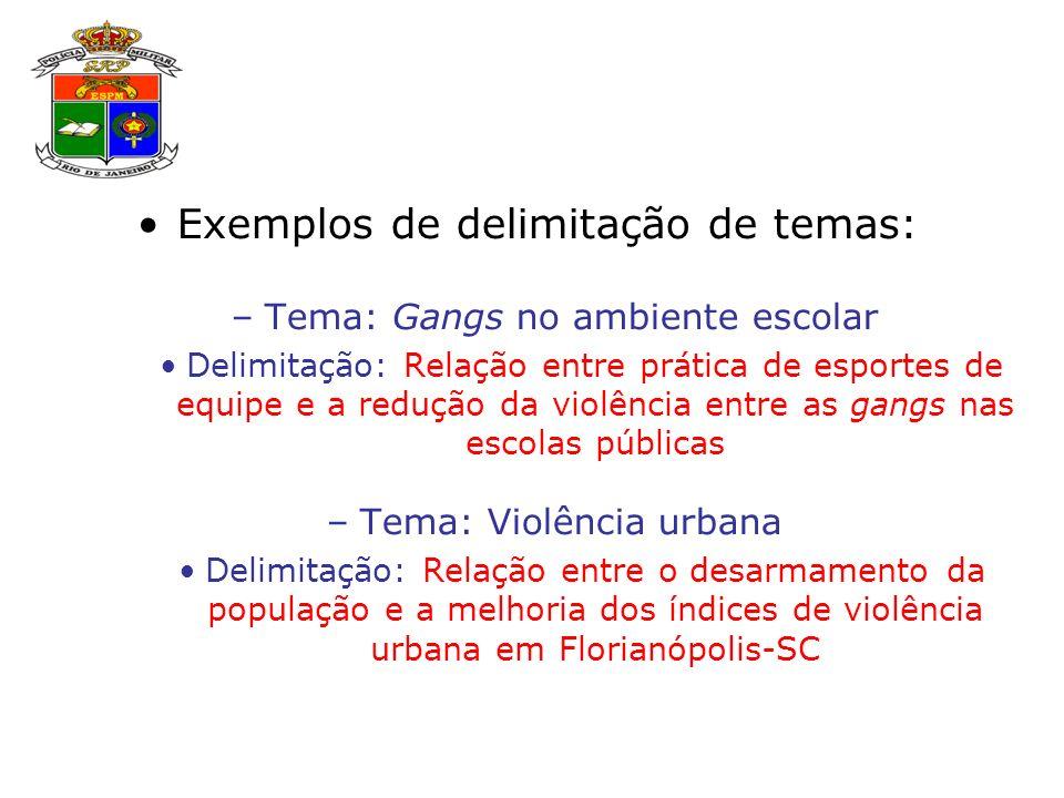 Exemplos de delimitação de temas: –Tema: Gangs no ambiente escolar Delimitação: Relação entre prática de esportes de equipe e a redução da violência entre as gangs nas escolas públicas –Tema: Violência urbana Delimitação: Relação entre o desarmamento da população e a melhoria dos índices de violência urbana em Florianópolis-SC