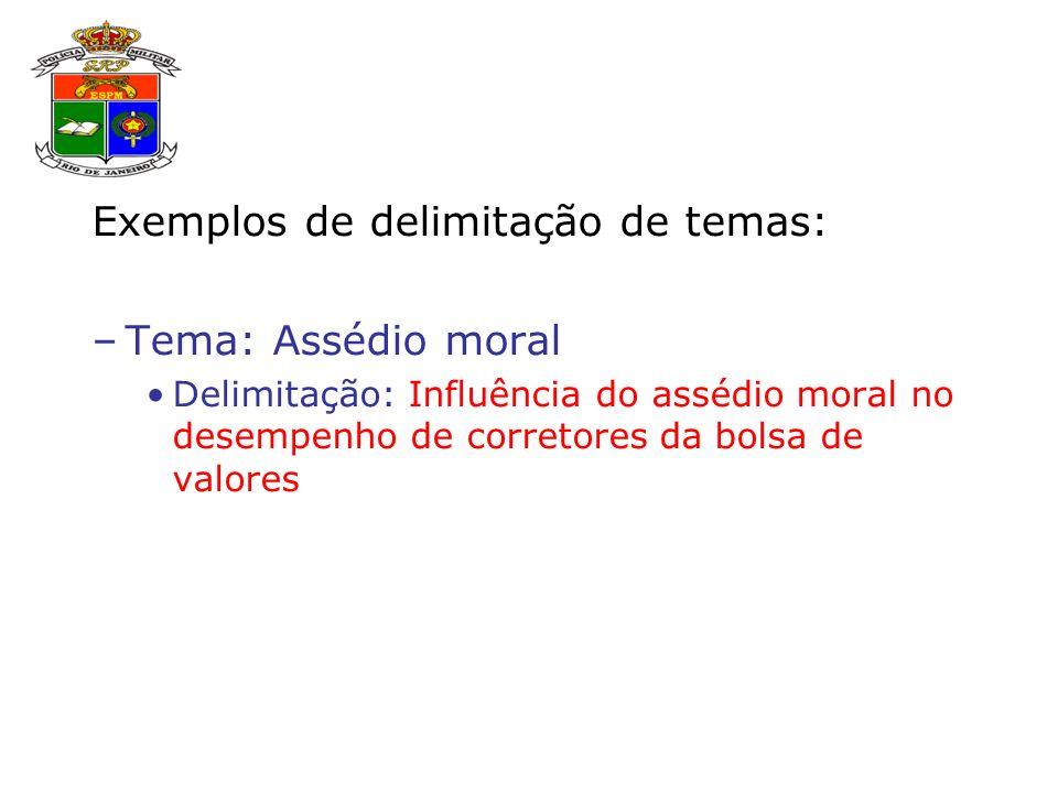 Exemplos de delimitação de temas: –Tema: Assédio moral Delimitação: Influência do assédio moral no desempenho de corretores da bolsa de valores