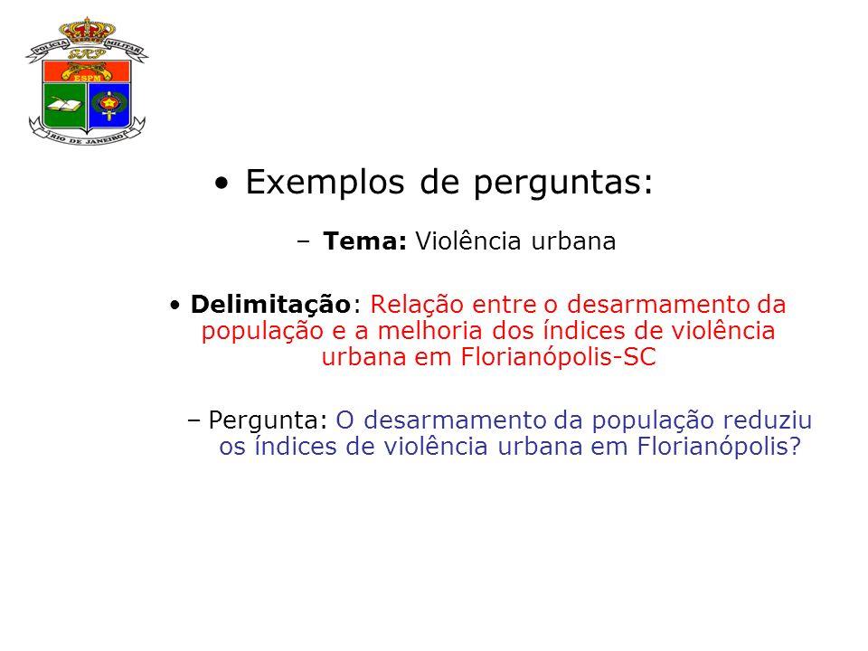 Exemplos de perguntas: –Tema: Violência urbana Delimitação: Relação entre o desarmamento da população e a melhoria dos índices de violência urbana em Florianópolis-SC –Pergunta: O desarmamento da população reduziu os índices de violência urbana em Florianópolis?