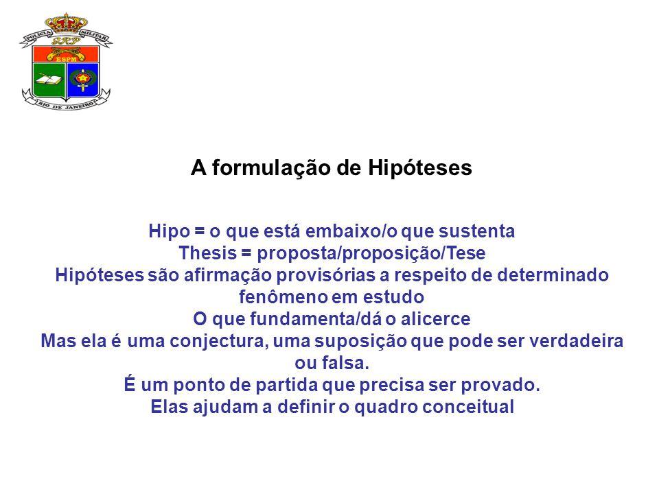 A formulação de Hipóteses Hipo = o que está embaixo/o que sustenta Thesis = proposta/proposição/Tese Hipóteses são afirmação provisórias a respeito de