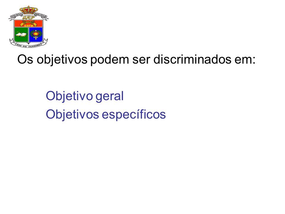 Os objetivos podem ser discriminados em: Objetivo geral Objetivos específicos
