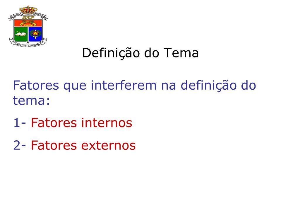 Definição do Tema Fatores que interferem na definição do tema: 1- Fatores internos 2- Fatores externos