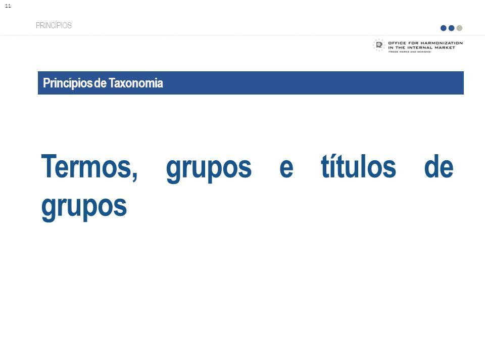 Princípios de Taxonomia Termos, grupos e títulos de grupos PRINCÍPIOS 11