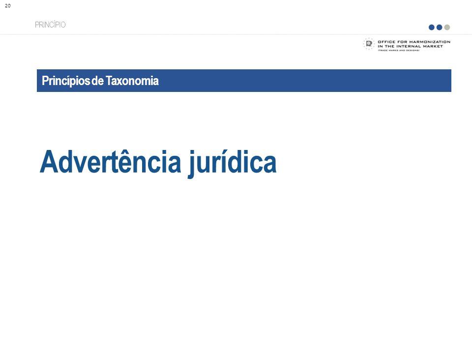 Princípios de Taxonomia Advertência jurídica PRINCÍPIO 20
