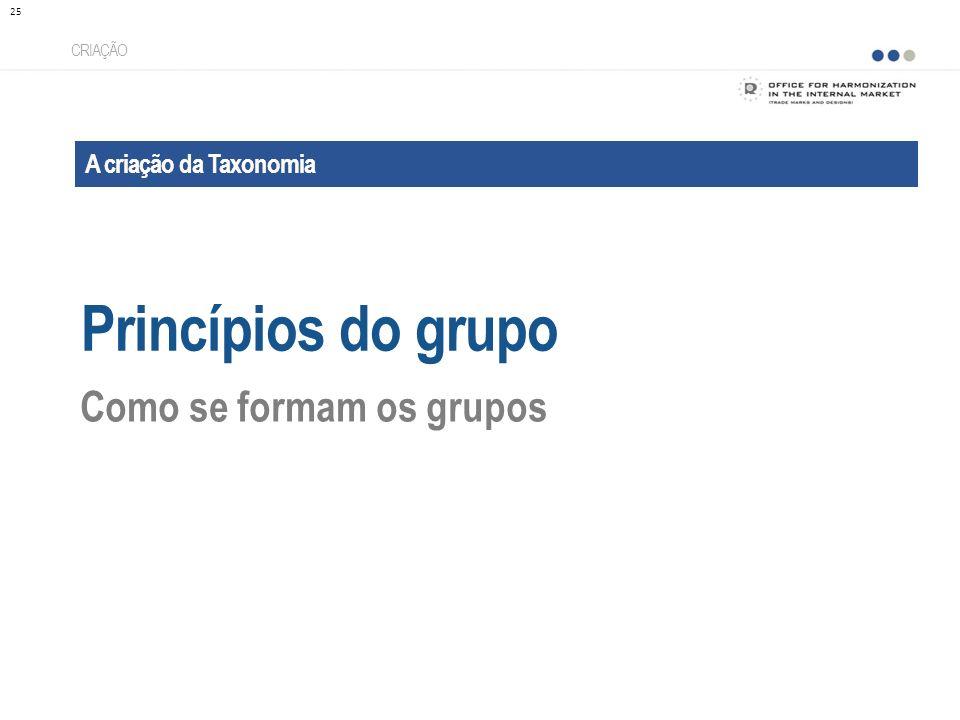 A criação da Taxonomia Princípios do grupo CRIAÇÃO Como se formam os grupos 25