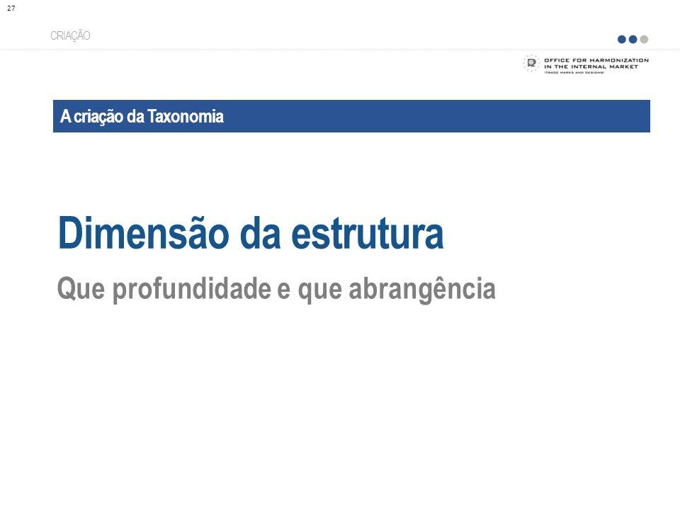 A criação da Taxonomia Dimensão da estrutura CRIAÇÃO Que profundidade e que abrangência 27