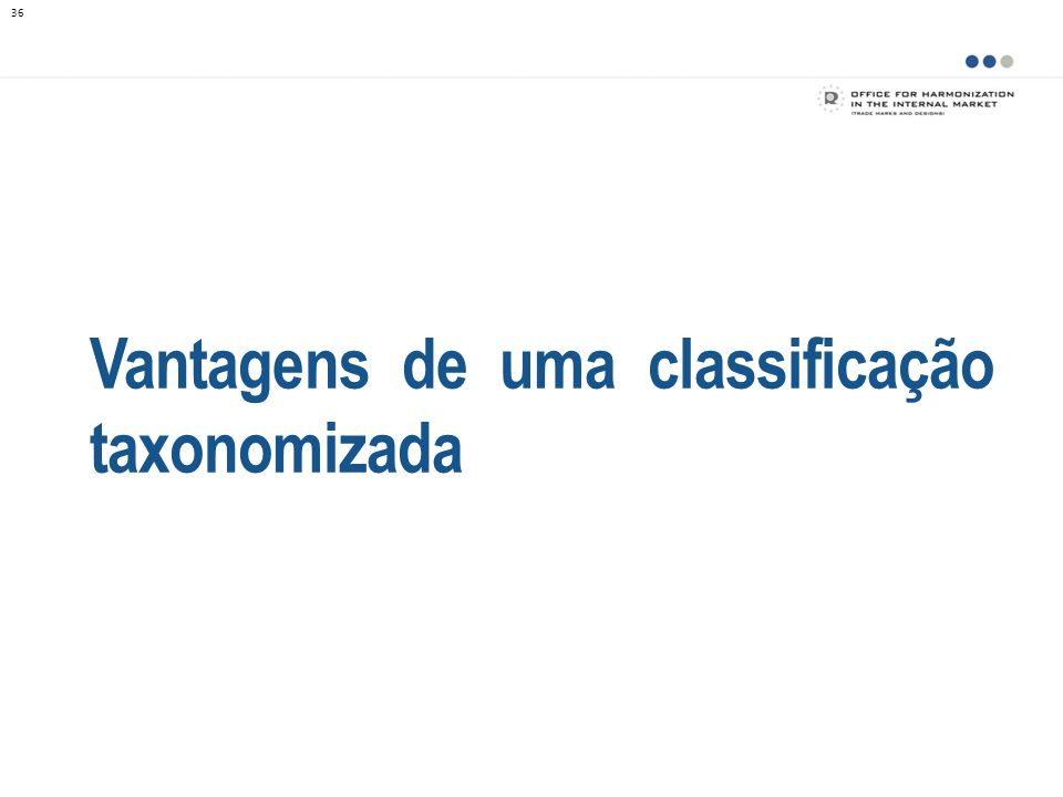 Vantagens de uma classificação taxonomizada 36