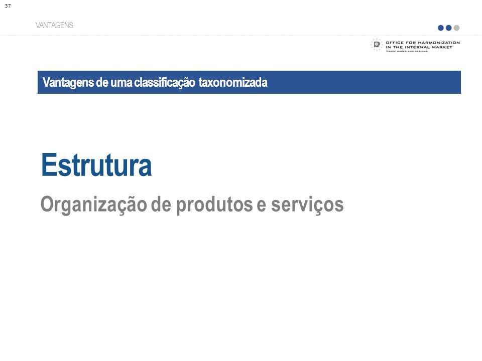 Vantagens de uma classificação taxonomizada Estrutura VANTAGENS Organização de produtos e serviços 37