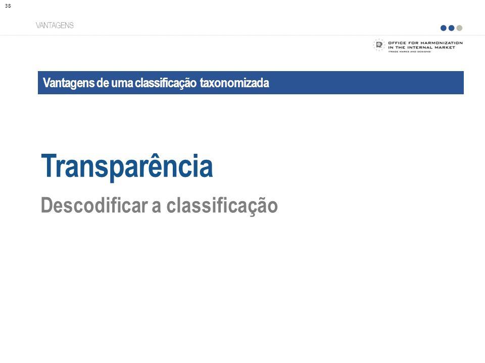 Vantagens de uma classificação taxonomizada Transparência VANTAGENS Descodificar a classificação 38