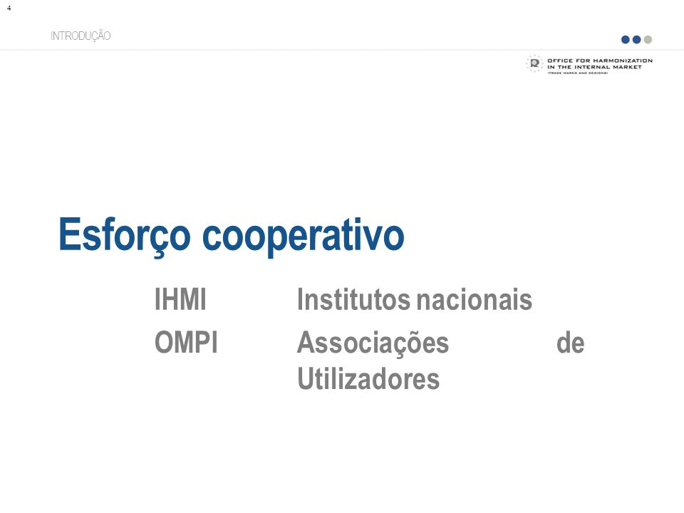 Esforço cooperativo INTRODUÇÃO IHMIInstitutos nacionais OMPIAssociações de Utilizadores 4