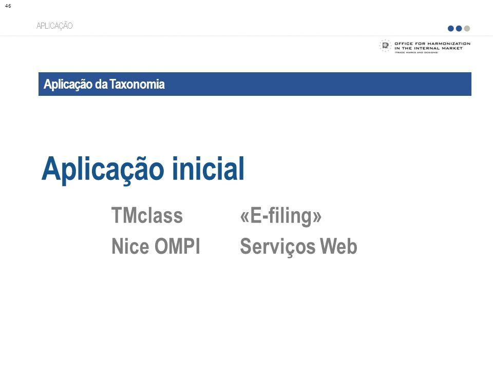 Aplicação da Taxonomia Aplicação inicial APLICAÇÃO TMclass«E-filing» Nice OMPIServiços Web 46