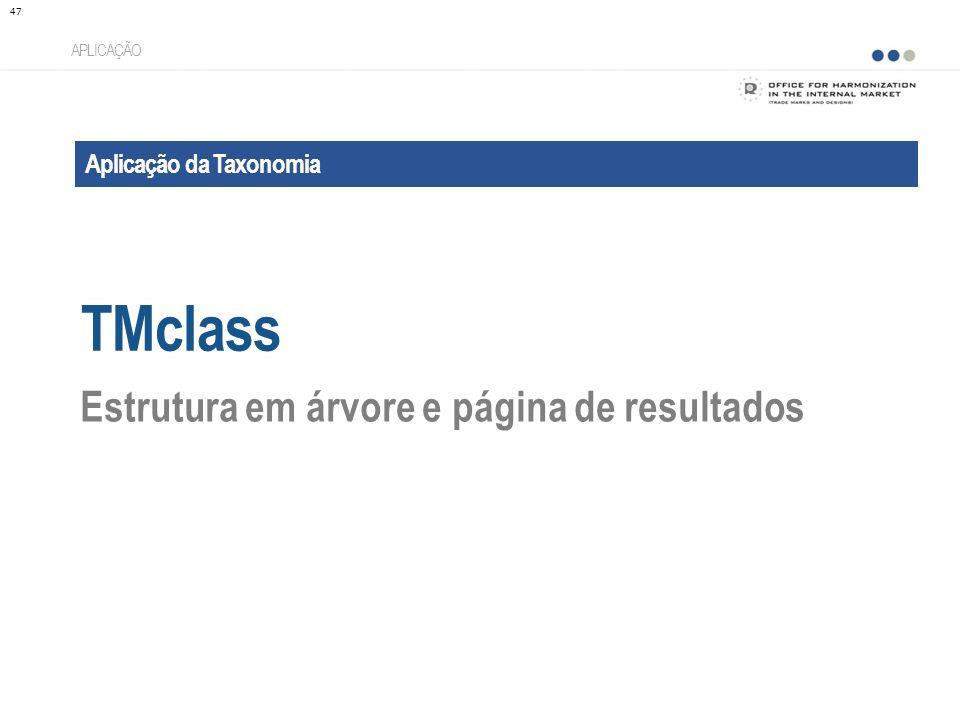 Aplicação da Taxonomia TMclass APLICAÇÃO Estrutura em árvore e página de resultados 47