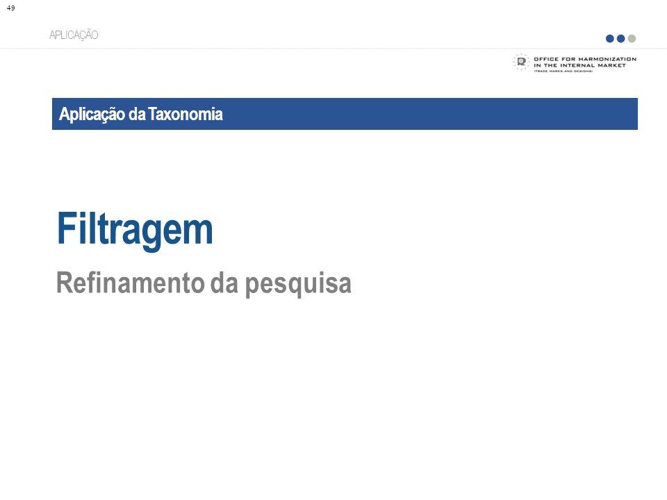 Aplicação da Taxonomia Filtragem APLICAÇÃO Refinamento da pesquisa 49