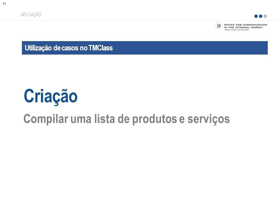 Utilização de casos no TMClass Criação APLICAÇÃO Compilar uma lista de produtos e serviços 51