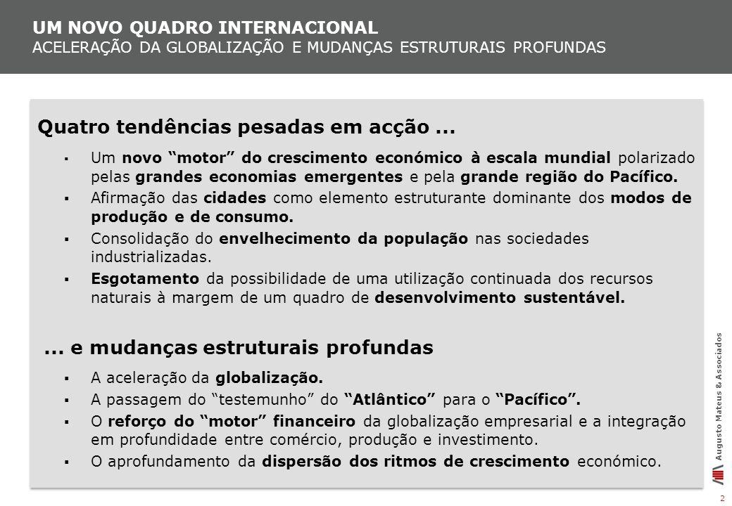 UM NOVO QUADRO INTERNACIONAL ACELERAÇÃO DA GLOBALIZAÇÃO E MUDANÇAS ESTRUTURAIS PROFUNDAS 2 Augusto Mateus & Associados Quatro tendências pesadas em ac