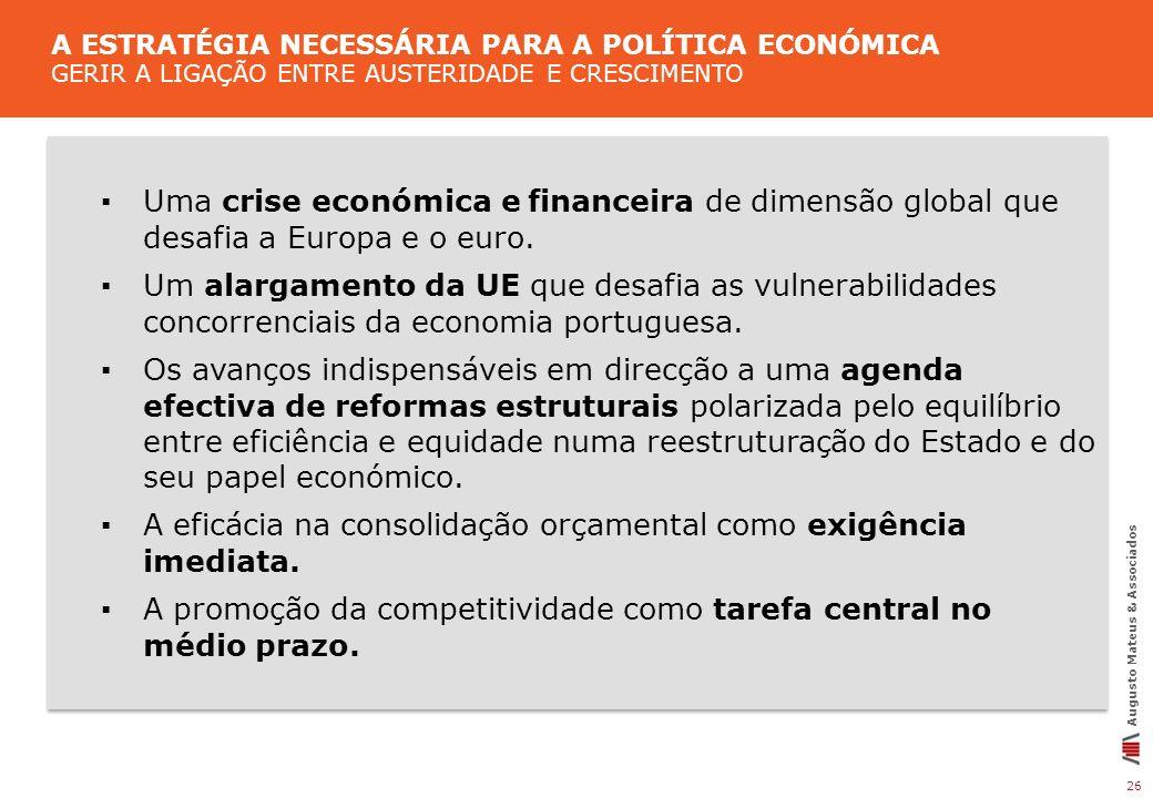 26 Augusto Mateus & Associados Uma crise económica e financeira de dimensão global que desafia a Europa e o euro. Um alargamento da UE que desafia as