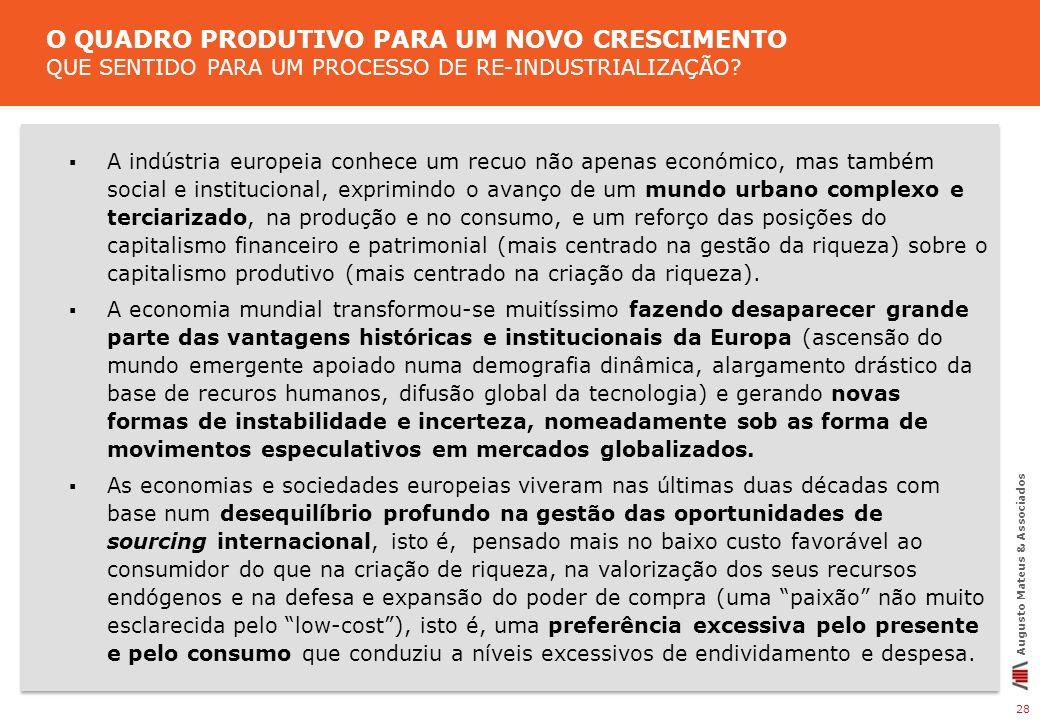 28 Augusto Mateus & Associados A indústria europeia conhece um recuo não apenas económico, mas também social e institucional, exprimindo o avanço de u