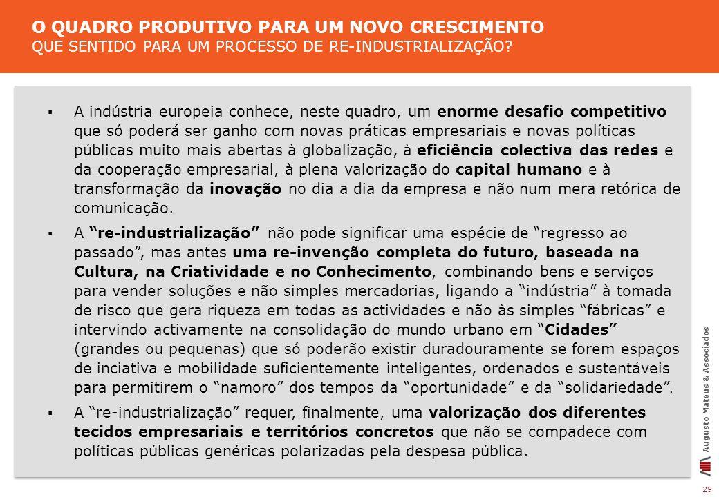 29 Augusto Mateus & Associados A indústria europeia conhece, neste quadro, um enorme desafio competitivo que só poderá ser ganho com novas práticas em