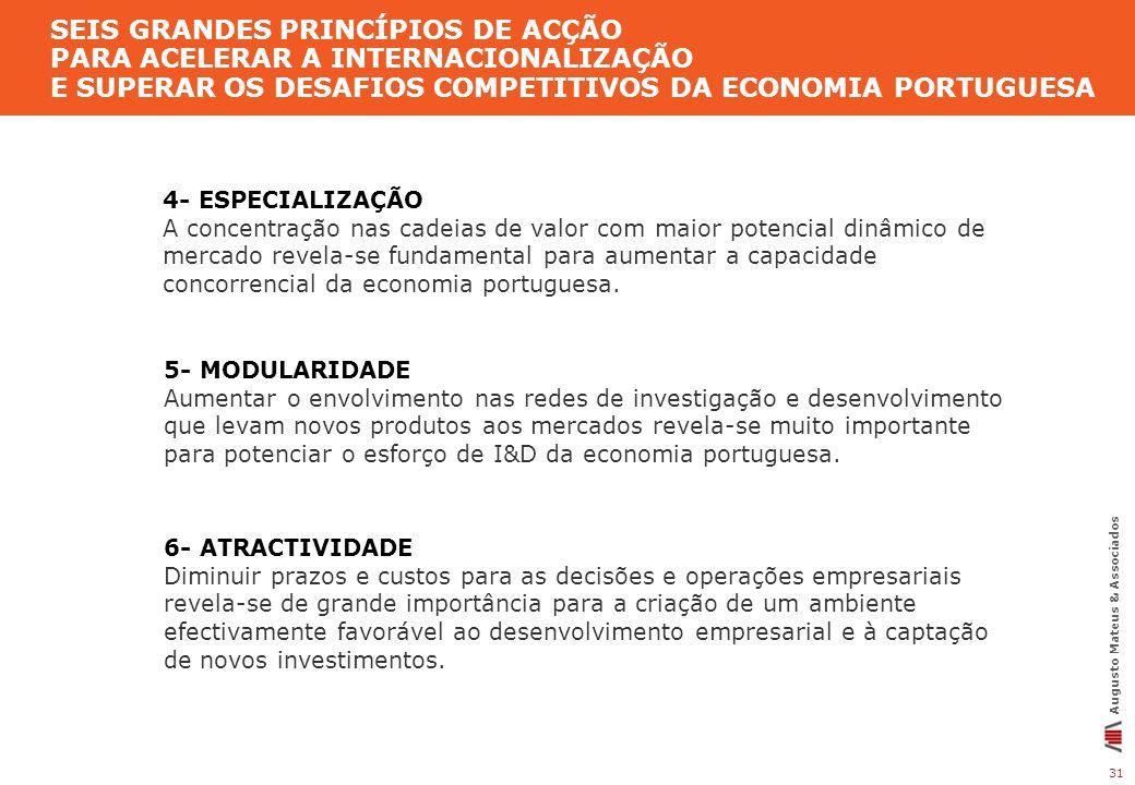31 Augusto Mateus & Associados SEIS GRANDES PRINCÍPIOS DE ACÇÃO PARA ACELERAR A INTERNACIONALIZAÇÃO E SUPERAR OS DESAFIOS COMPETITIVOS DA ECONOMIA POR