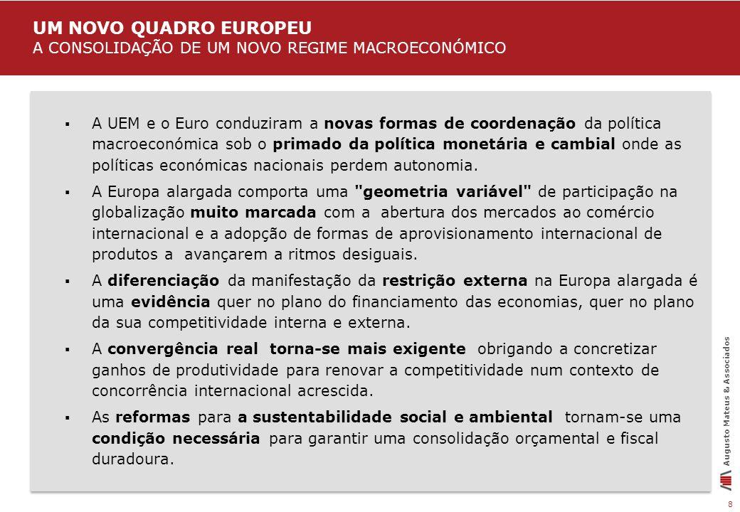 8 Augusto Mateus & Associados A UEM e o Euro conduziram a novas formas de coordenação da política macroeconómica sob o primado da política monetária e