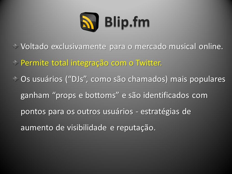 Blip.fm Voltado exclusivamente para o mercado musical online. Voltado exclusivamente para o mercado musical online. Permite total integração com o Twi
