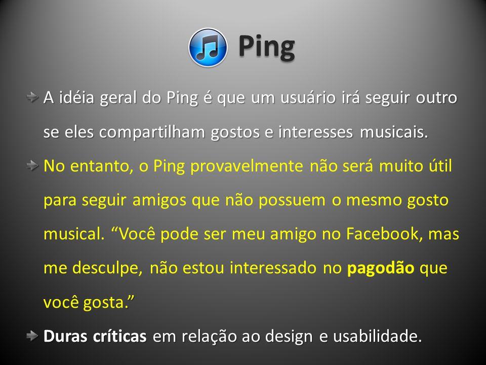 Ping A idéia geral do Ping é que um usuário irá seguir outro A idéia geral do Ping é que um usuário irá seguir outro se eles compartilham gostos e int